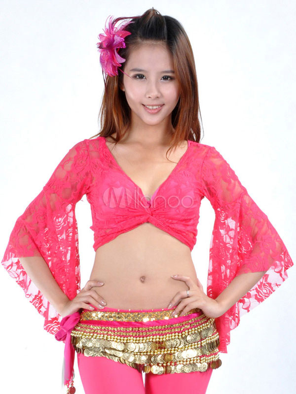 Belly Dance Top Rose Lace Women Bollywood Belly Dancing Clothes
