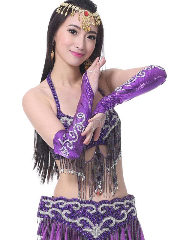 Traje de danza del vientre Brazo de plata cubre accesorios de baile ...
