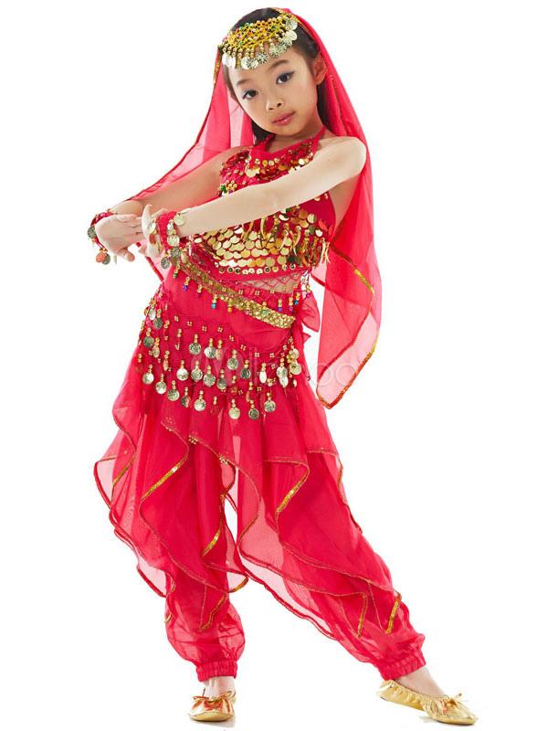 66707257c6dd Traje de Danza del Vientre Niños Rojo Gasa Danza del Vientre Ropa 6 Piezas  Outfit Para Niñas