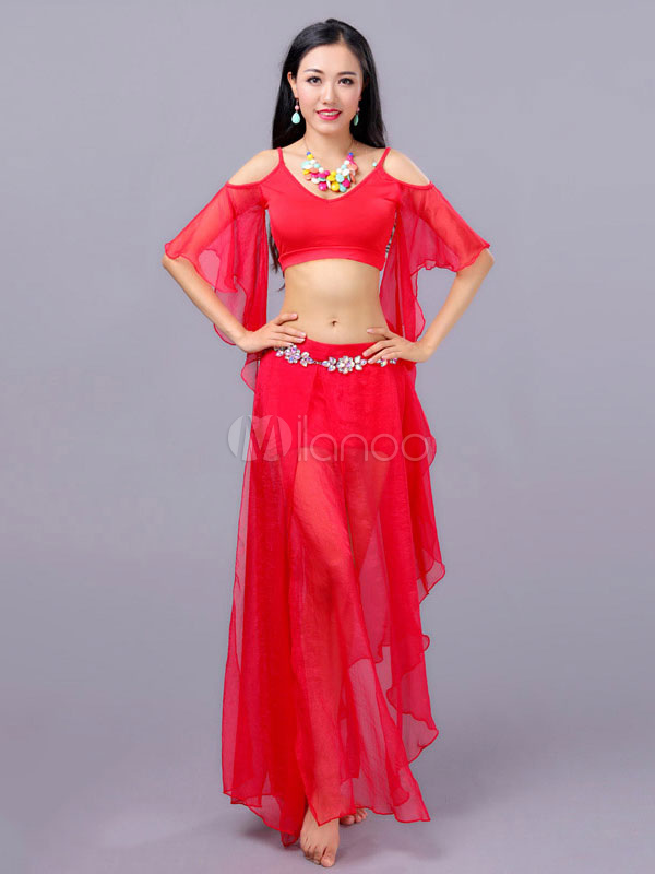 Belly Dance Costume Chiffon Red Crop Top With Skirts Bollywood Dance Costumes In 3 Piece