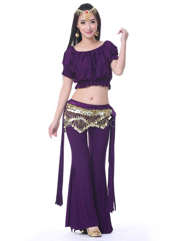 Trajes de danza del vientre Pantalones de mujer naranja Set 3 piezas ...