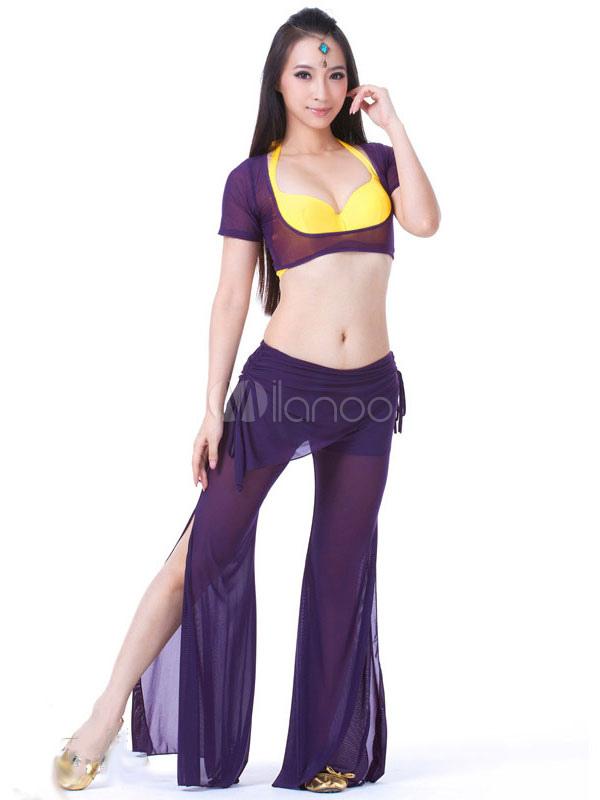 Traje de danza del vientre mujer roja Top y pantalones de tul 2 ...