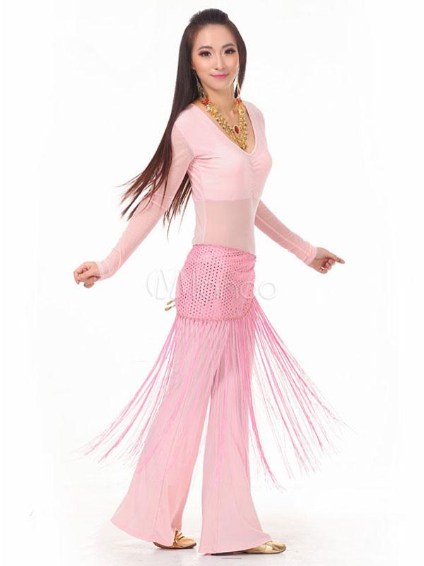 Trajes de Danza del Vientre Pantalones de Mujer Rosa Top Cintura ...