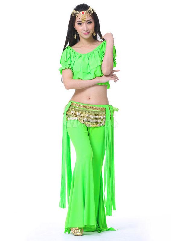 Traje De Danza Del Vientre Trajes Naranja Pantalones De Mujer Top Cadenas De Cintura 3 Piezas Ropa De Baile De Bollywood Milanoo Com