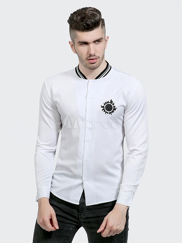Buy White Casual Shirt Men Shirt Stand Collar Long Sleeve Slim Fit Cotton Top for $24.49 in Milanoo store