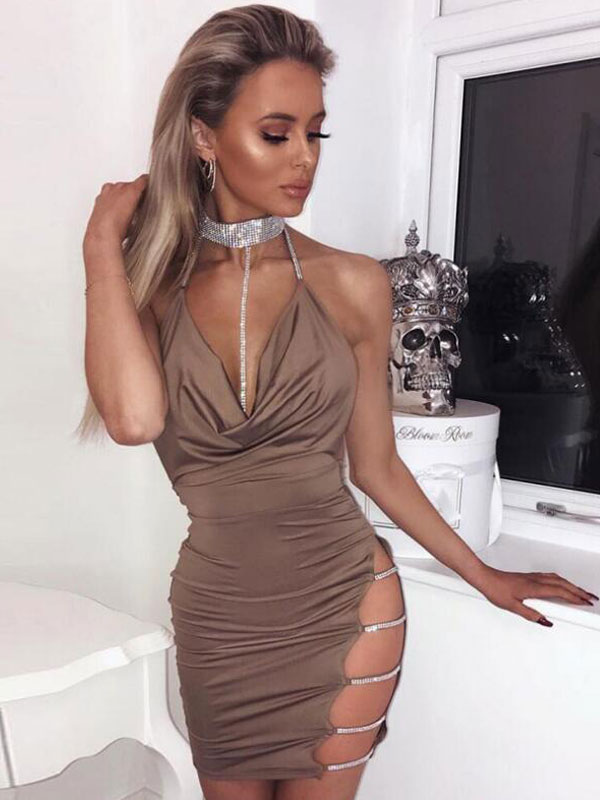 5890e555a15 Sexy Club Dress Halter Sleeveless Cut Out Rhinestones Backless Party Dress