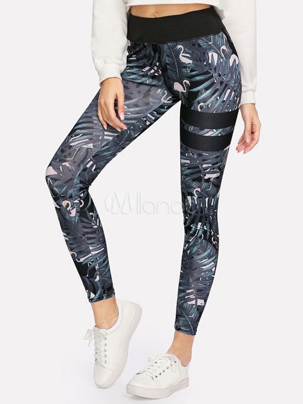 Skinny Gym Leggings Women Floral Printed Elastic Waist Sports Leggings