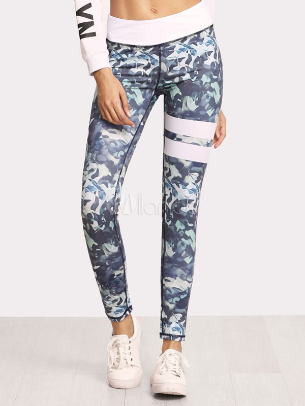 Buy Women Gym Leggings Printed Stripes Elastic Waist Skinny Yoga Leggings for $25.49 in Milanoo store