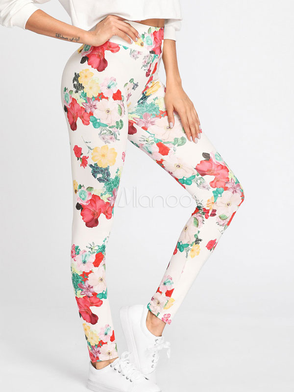 Buy Women Gym Leggings Floral Printed Skinny Elastic Waist Yoga Leggings for $23.74 in Milanoo store