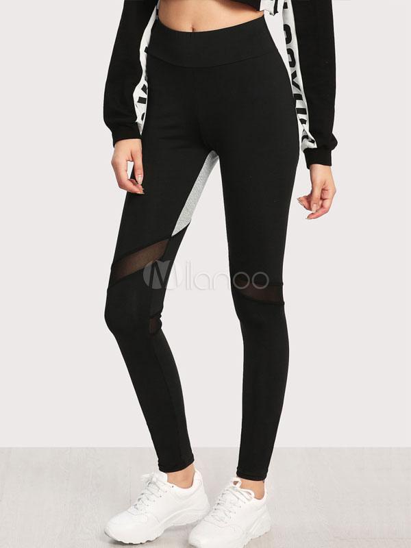 Buy Black Gym Leggings Women Elastic Waist Skinny Sports Leggings for $18.69 in Milanoo store