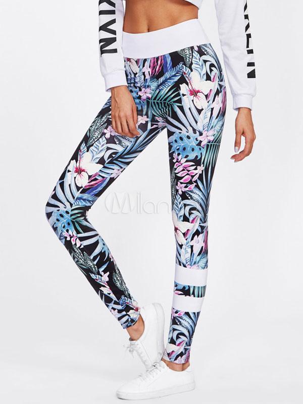 Buy Women Gym Leggings Floral Printed Elastic Waist Skinny Yoga Leggings for $26.99 in Milanoo store