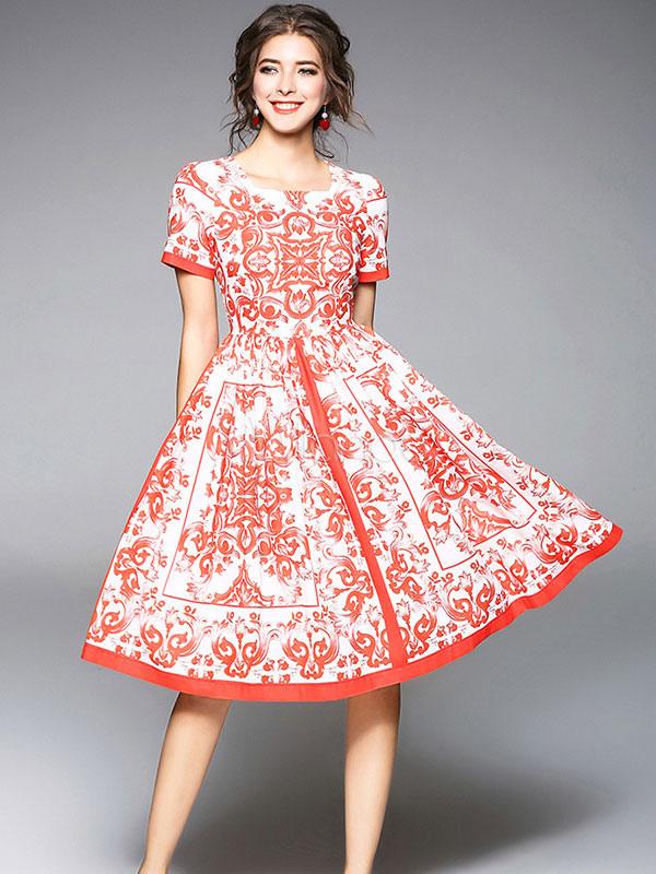 Vestido vintage de lino rojo con escote cuadrado con manga corta con ...
