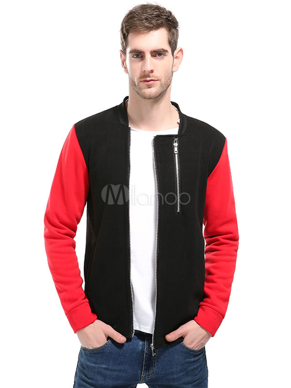 Men Spring Jacket Stand Collar Long Sleeve Zip Up Short Jacket Cotton Jacket