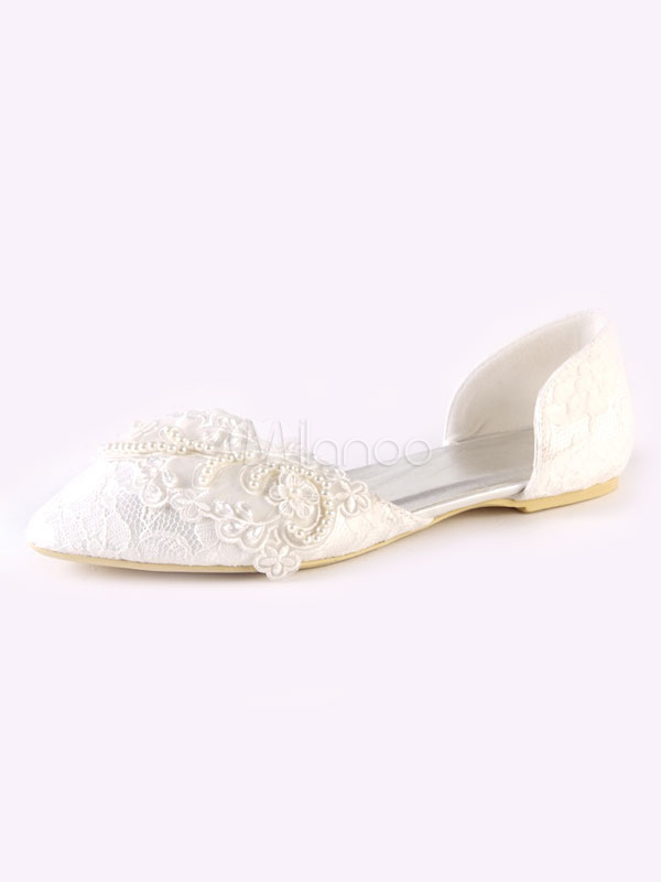 Lace Wedding Shoes Ivory Pointed Toe Pearls Bridal Shoes Flat