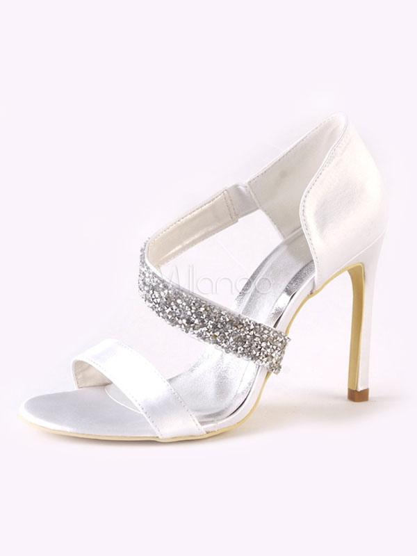Scarpe da sposa bianche Scarpe aperte con tacco alto e strass in raso da  donna- ... 47df6a125d4