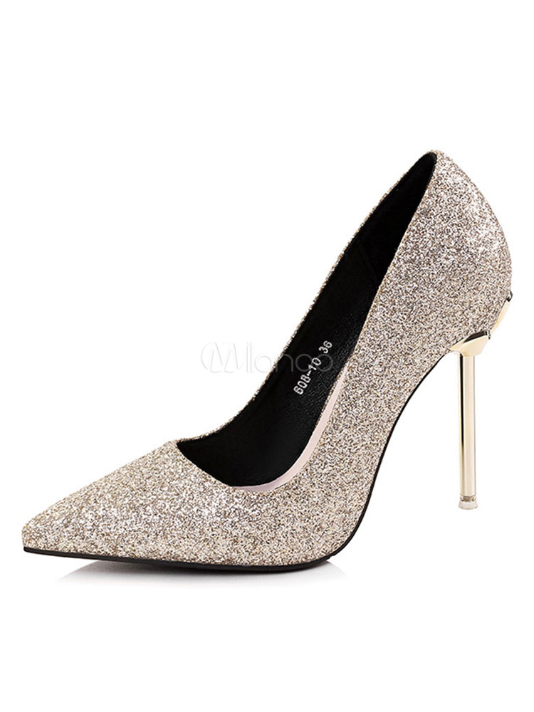Zapatos de novia Zapatos de tacón alto de tacón de stiletto de puntera puntiaguada de PU plateados estilo moderno pMoh0ber