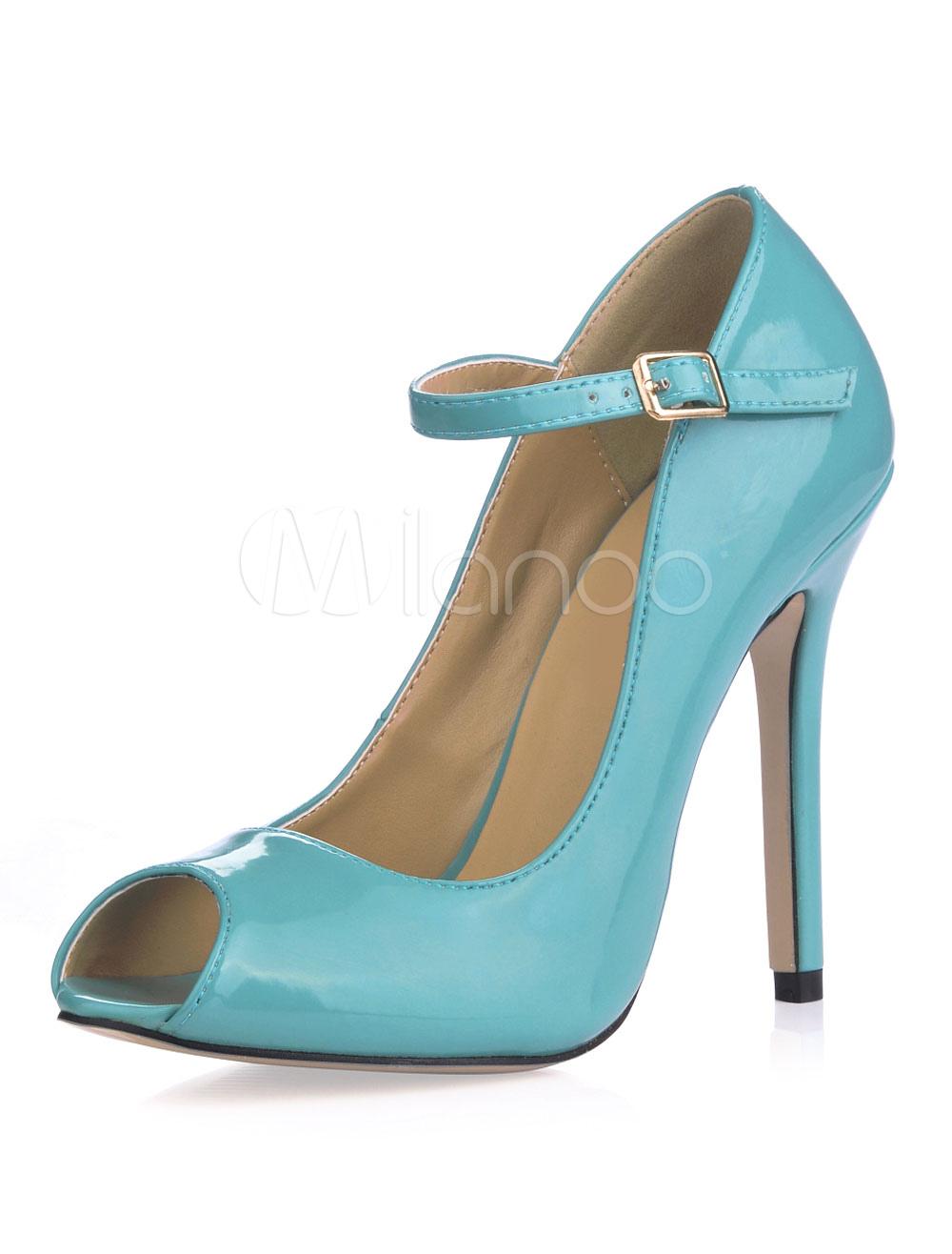 Women High Heels Light Blue Peep Toe Buckle Detail Pumps
