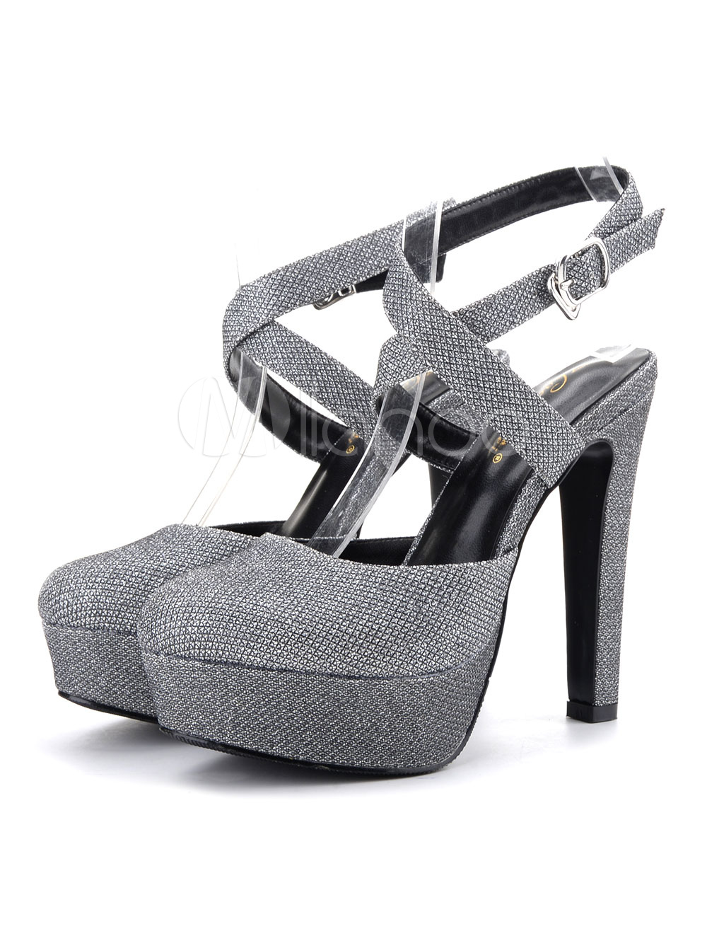 Buy Women High Heels Deep Grey Round Toe Criss Cross Party Shoes Glitter Evening Shoes for $40.49 in Milanoo store