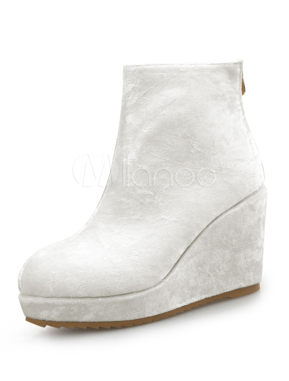 White Ankle Boots Velvet Round Toe