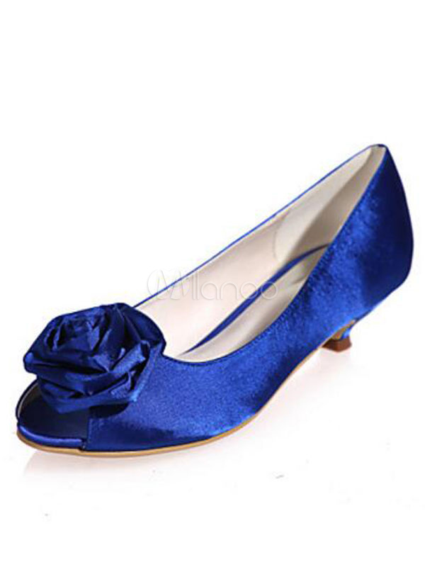 Buy Blue Mother Shoes Satin Peep Toe Flowers Beaded Wedding Guest Shoes Kitten Heel Wedding Shoes for $46.79 in Milanoo store
