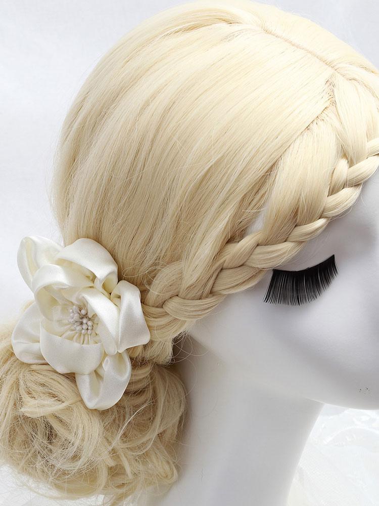 Wedding Flower Headpieces White Satin Bridal Hair Accessories
