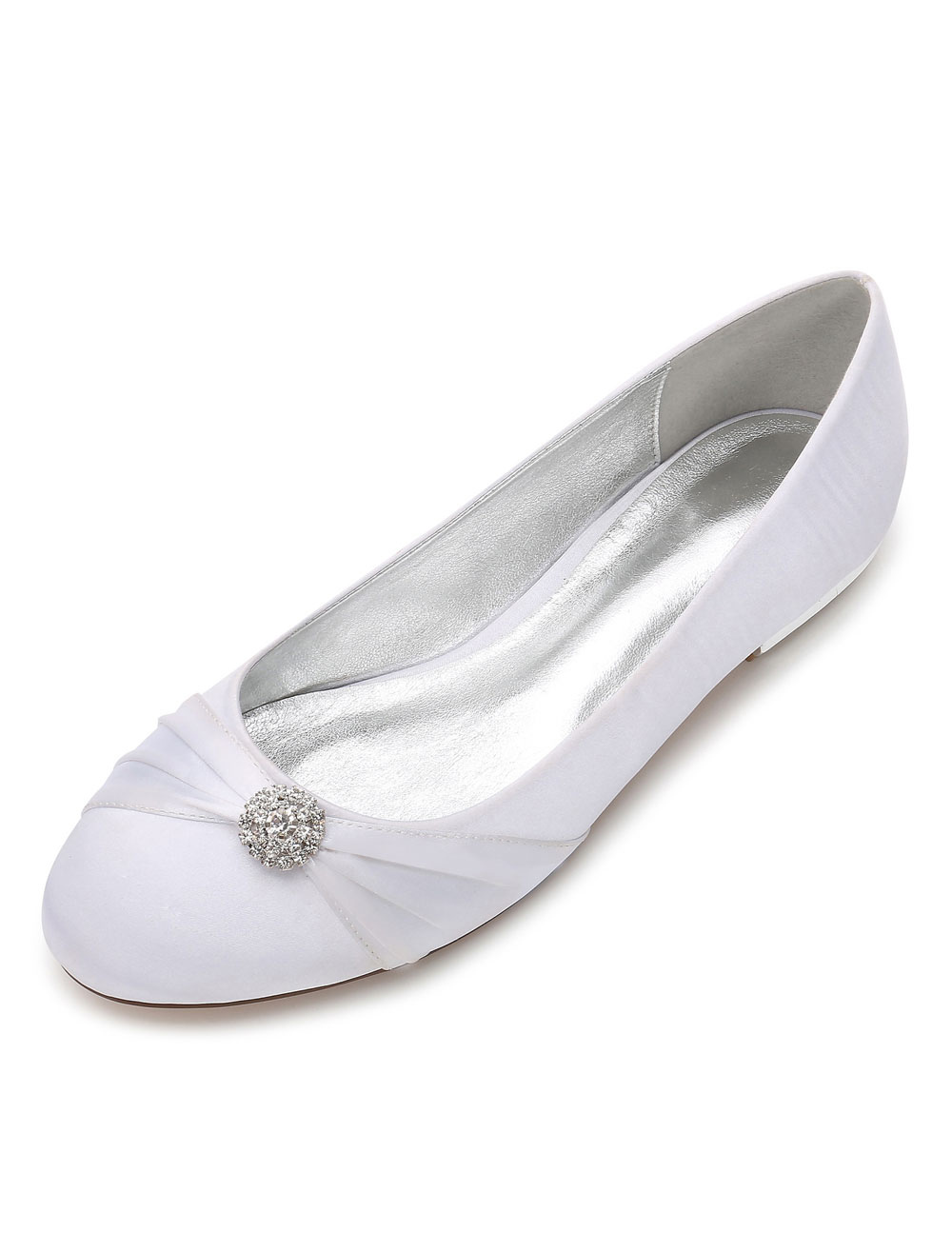 White Bridesmaid Shoes Satin Round Toe