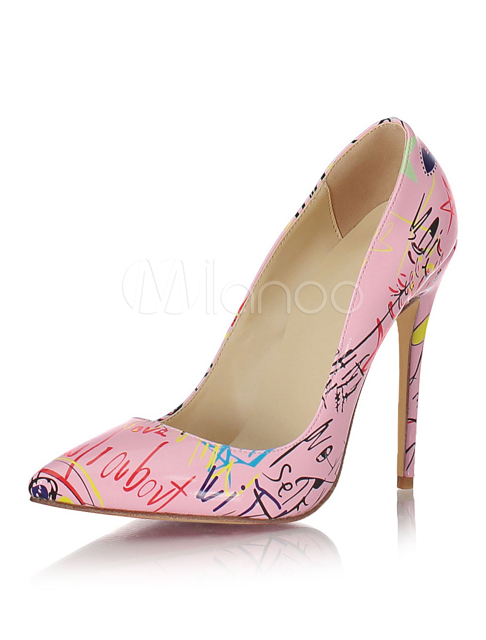 Buy Pink High Heels Women Shoes Pointed Toe Printed Slip On Pumps for $65.69 in Milanoo store