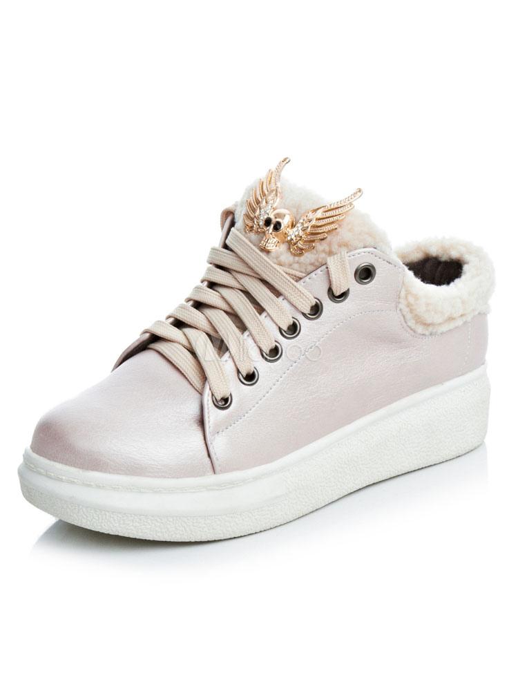 Zapatos de puntera redonda con cinta de PU Planos Color liso estilo informal Invierno para ocasión informal 3DSVCcPnn