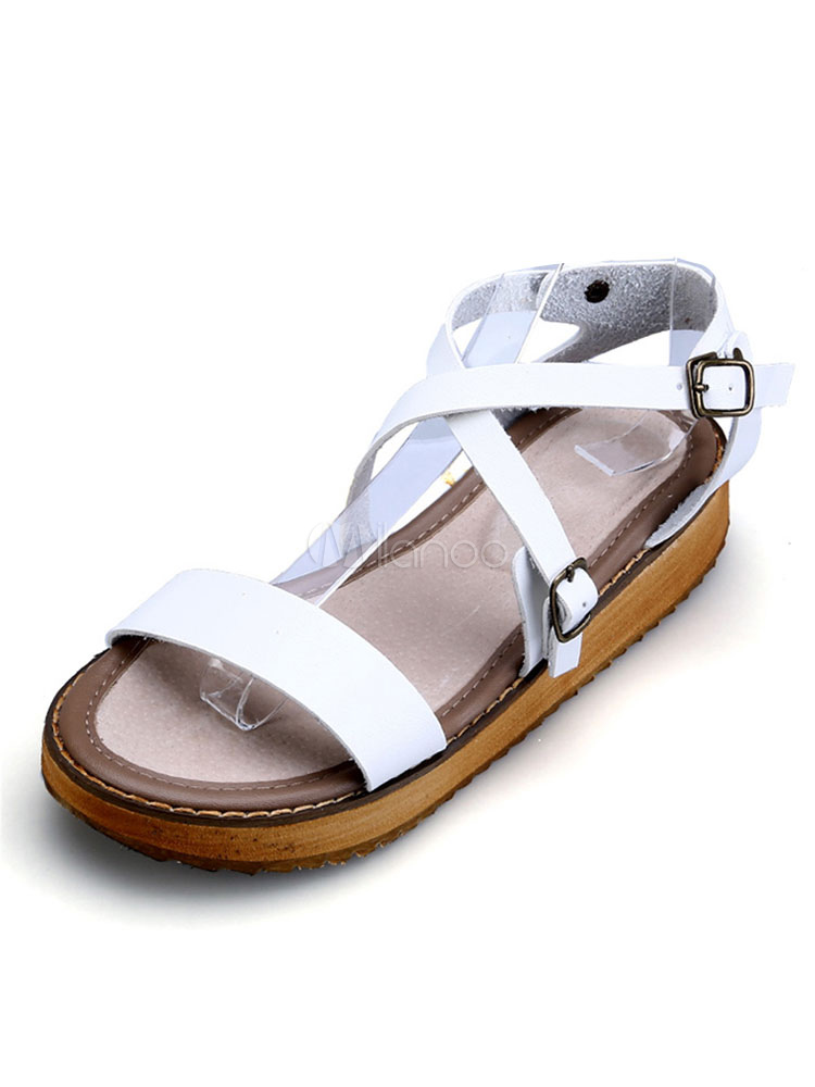 Women Summer Sandal Strappy Buckled White Open Toe Flat Sandals Casual