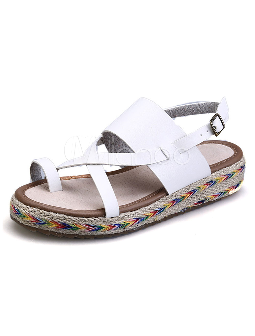 Women Casual Sandal Toe Ring Open Toe Strappy Buckled Flat White Women Summer Sandal