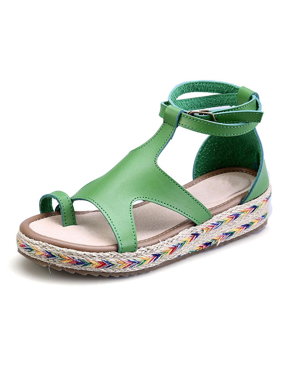 Women Casual Sandal Toe Ring Cut Out Strappy Buckled Women Open Toe Sandal