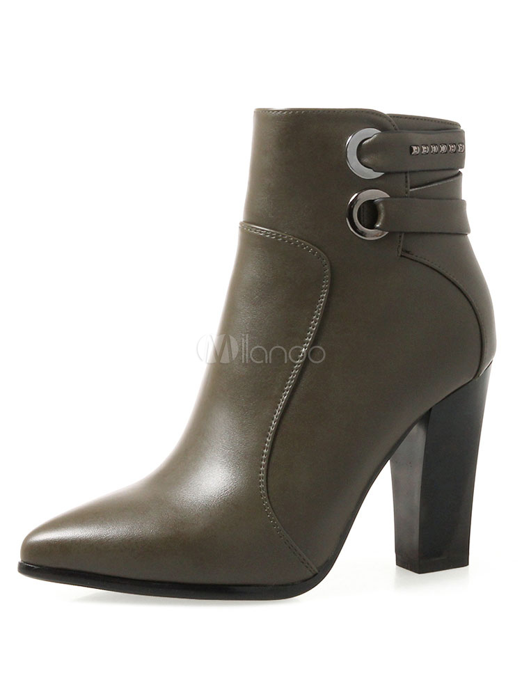 Buy High Heel Booties Women Shoes Pointed Toe Metal Detail Ankle Boots for $58.49 in Milanoo store