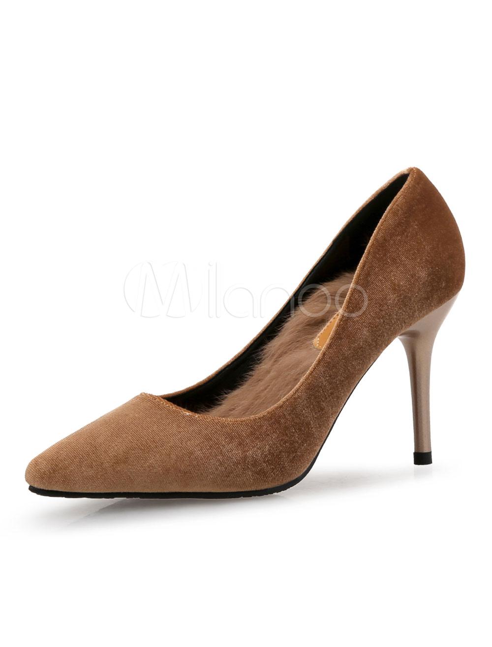 Zapatos de tacón de puntera puntiaguada de franela Color liso de tacón de stiletto ziX6j3
