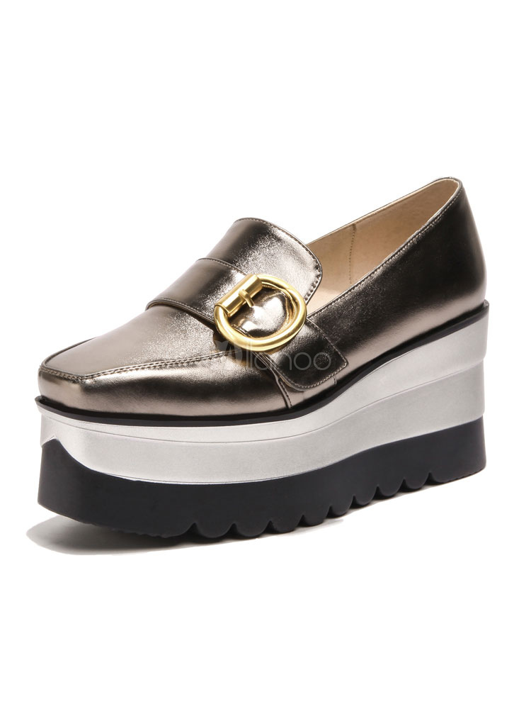 Buy Black Casual Sneakers Square Toe Buckle Detail Slip On Pumps Women Shoes for $50.59 in Milanoo store