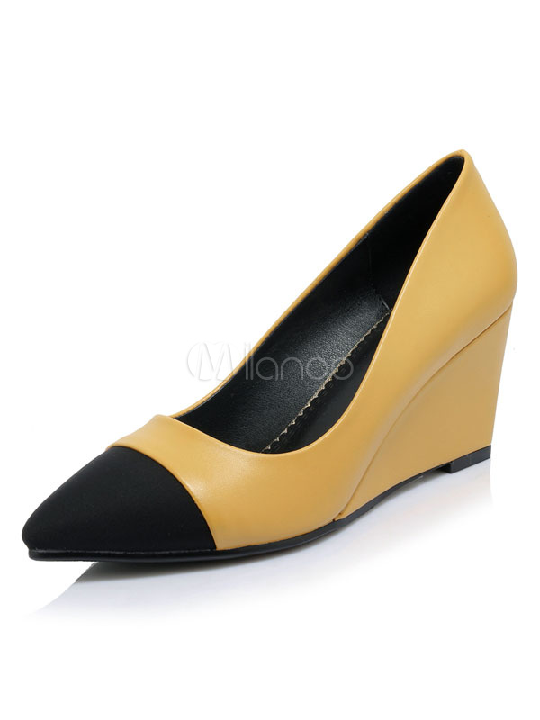 Women Shoes Yellow Wedge Shoes Pointed Toe Slip On Pumps