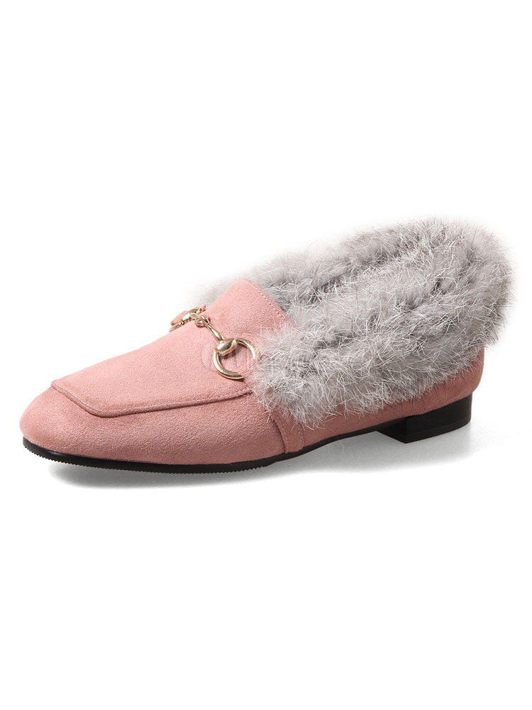 Buy Pink Women Loafers Square Toe Metal Detail Faux Fur Detail Slip On Pumps for $40.49 in Milanoo store