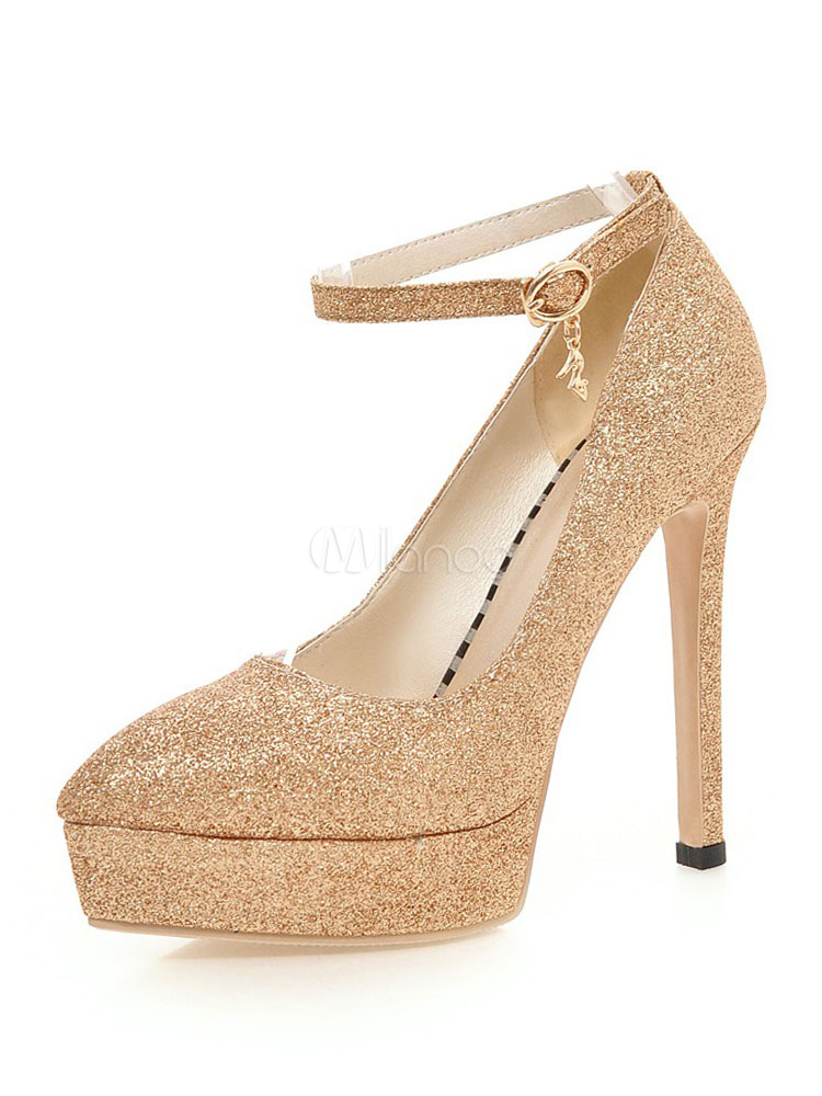 Buy Women High Heels Gold Sequined Pointed Toe Buckle Detail Evening Shoes for $41.39 in Milanoo store