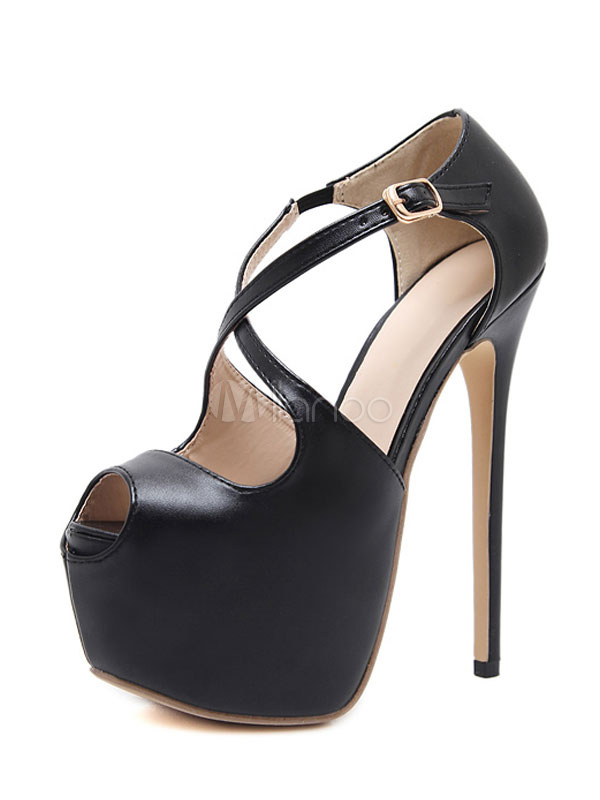 Buy Black Sexy Shoes Peep Toe Platform Criss Cross Sandal Shoes For Women for $32.19 in Milanoo store