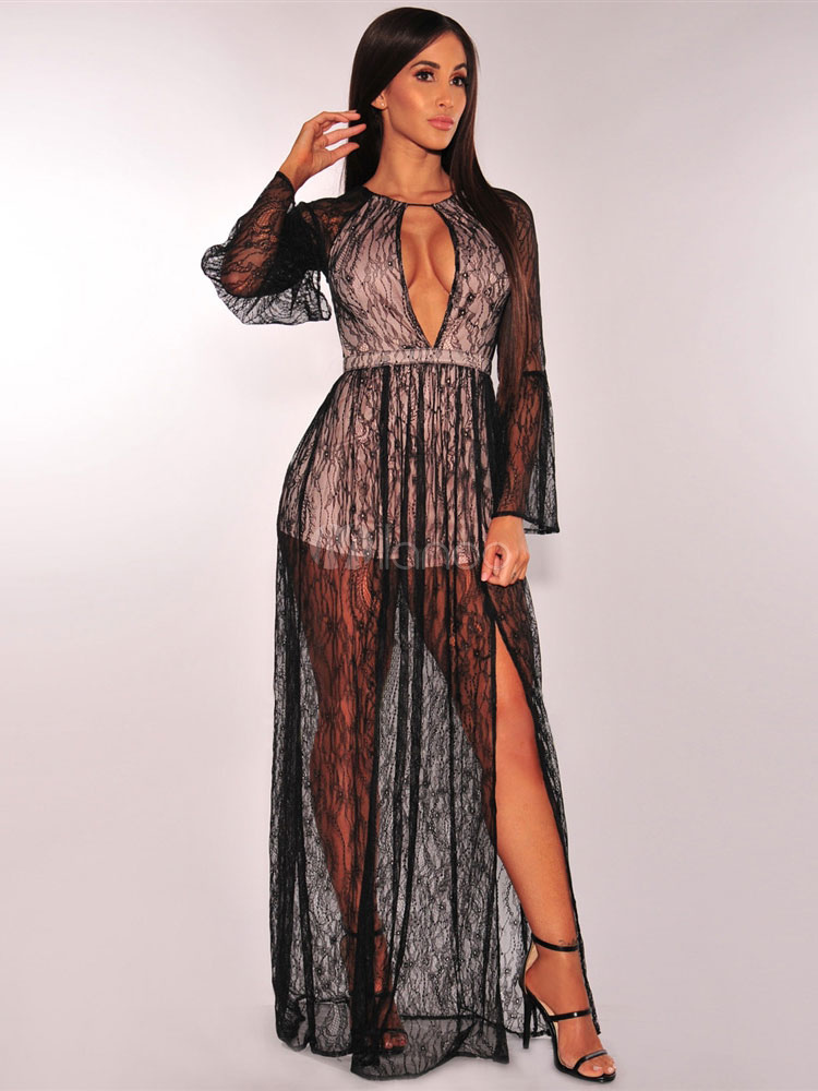 Buy Black Sexy Dress Maxi Lace Split Long Sleeve Sheer Plunging Backless Club Dress for $33.99 in Milanoo store