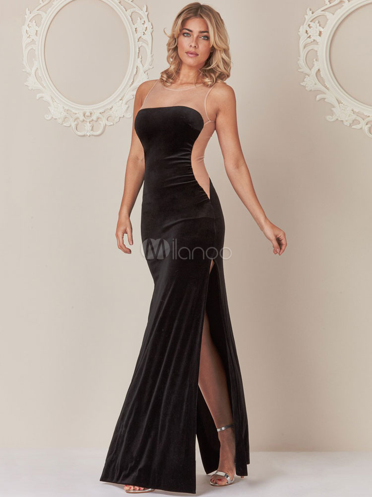 Buy Black Evening Dress Women Maxi Dress Illusion Round Neck Sleeveless Slit Formal Dress for $35.99 in Milanoo store