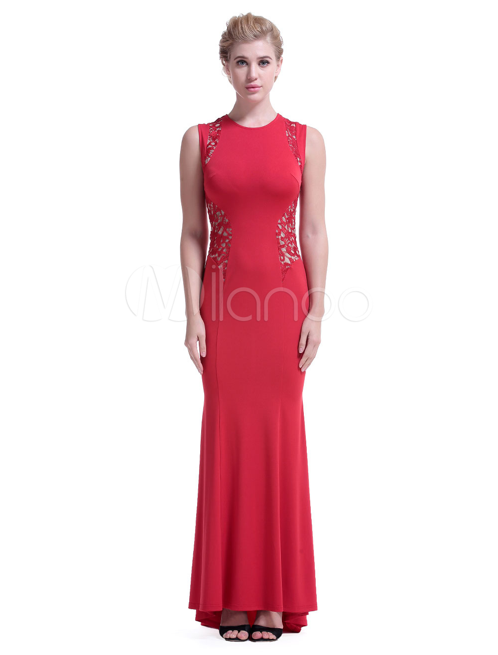 Red Maxi Dress Round Lace Round Neck Sleeveless Pleated Slim Fit Formal Dress Women Evening Dress