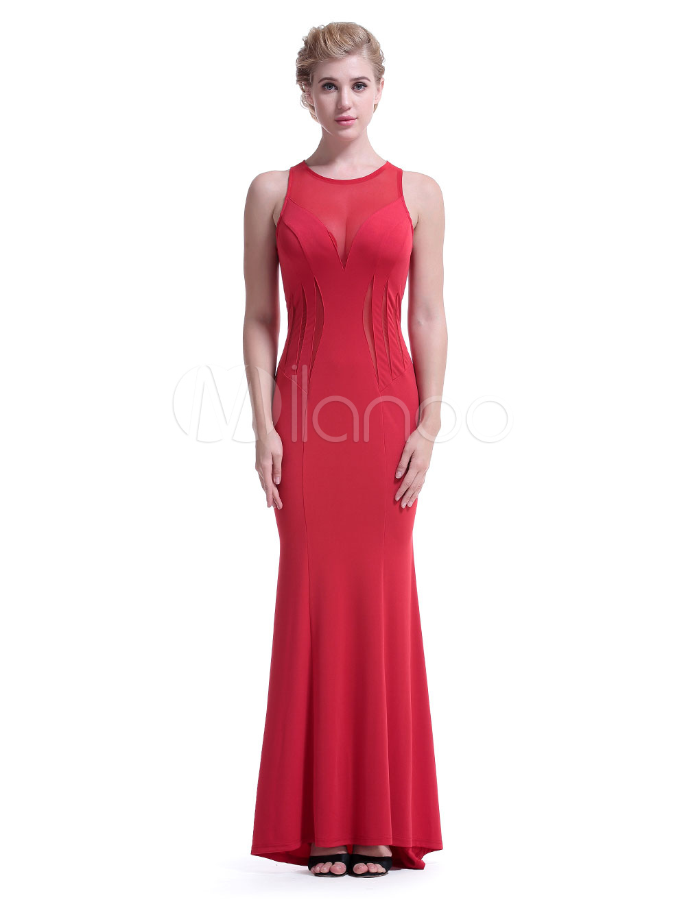 Buy Red Maxi Dress Women Formal Dress Round Neck Sleeveless Slim Fit Long Dress for $35.99 in Milanoo store