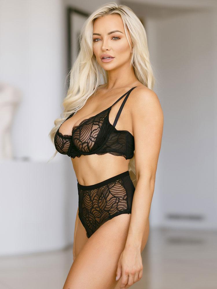 799c1070dd9 ... Black Sexy Bra Set Nylon Jacquard Semi-sheer Bra With Panty-No.2 ...
