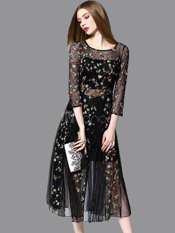 Vestido negro tul bordado