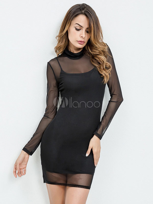 Buy Black Bodycon Dress 2 Piece Short Dress High Collar Long Sleeve Slim Fit Sheath Dress for $22.49 in Milanoo store