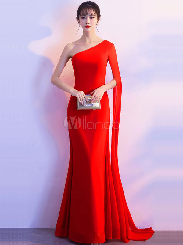 ca8c031bc7e9 Red Maxi Dress Women Long Bodycon Dress One Shoulder Formal Dress With Side  Draping-No ...
