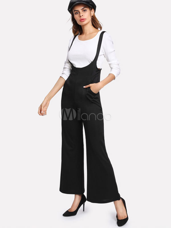 Buy Black Suspender Pants High Waisted Flared Women Overall Pants for $25.49 in Milanoo store