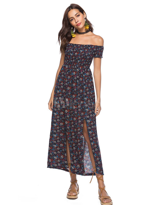 Buy Chiffon Maxi Dress Deep Blue Off The Shoulder Short Sleeve Maxi Dress Women Slit Long Dress for $21.24 in Milanoo store