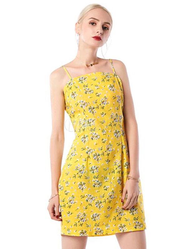 cd5e38c6ad0e Vestito estivo corto giallo cotone bretelle smanicato lacci sottili stampa  floreale -No.1 ...
