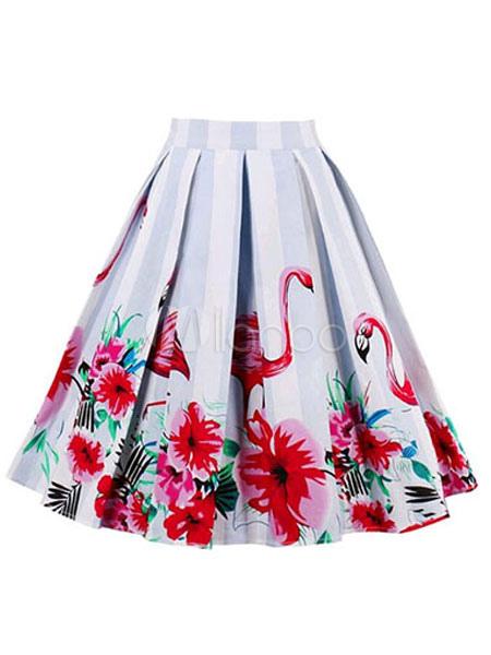 80d1e7a6a ... Vintage Midi Skirt Women Cotton Floral Print A Line White Pleated Skirt -No.2